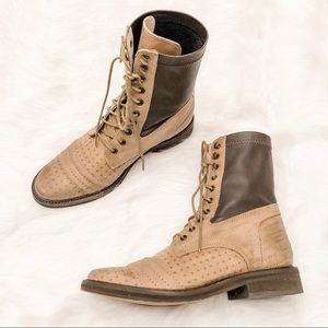 Free People Boots Sounder Combat Lace Up Leather